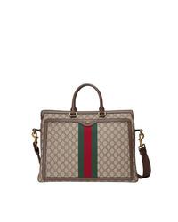 Portafolio de lona marrón claro de Gucci