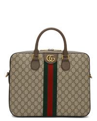Portafolio de lona marrón de Gucci
