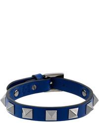 Pulsera de cuero azul marino de Valentino Garavani