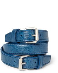 Pulsera de cuero azul de Balenciaga