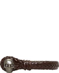 Pulsera de cuero en marrón oscuro de Alexander McQueen