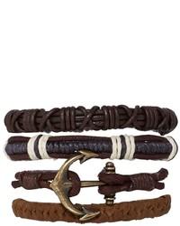 Pulsera de cuero en marrón oscuro de Asos
