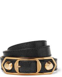 Pulsera de cuero en negro y dorado de Balenciaga