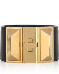 Pulsera de cuero en negro y dorado de Saint Laurent