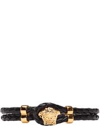 Pulsera de cuero negra de Versace