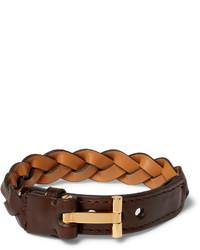 Pulsera de cuero tejida en marrón oscuro de Tom Ford
