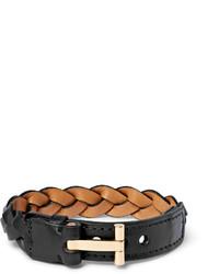 Pulsera de cuero tejida negra de Tom Ford