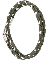 Pulsera de cuero tejida verde oliva de Tod's