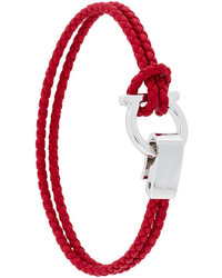 Pulsera tejida roja de Salvatore Ferragamo