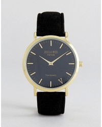Reloj de ante negro de Reclaimed Vintage