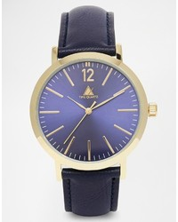 Reloj de cuero azul marino de Asos