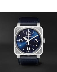 Reloj de cuero azul marino de Bell & Ross
