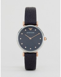 Reloj de cuero azul marino de Emporio Armani