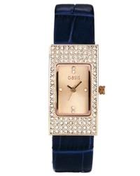 Reloj de cuero azul marino de Oasis