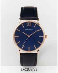 Reloj de cuero azul marino de Sekonda