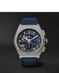 Reloj de cuero azul marino de Zenith
