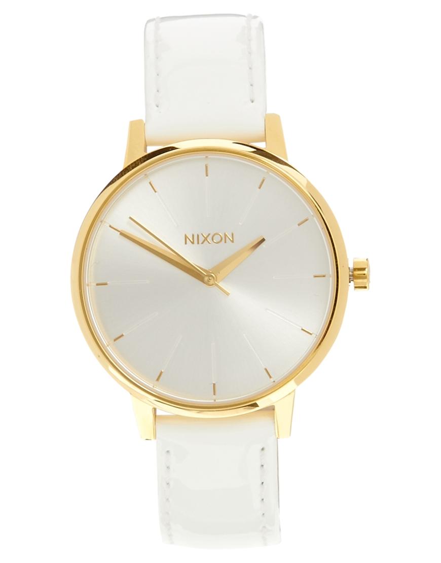 Reloj de cuero blanco de Nixon