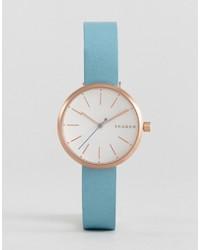 Reloj de cuero celeste de Skagen