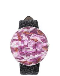 Reloj de cuero de camuflaje rosado de Christian Koban