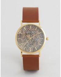 Reloj de cuero de leopardo marrón de Reclaimed Vintage