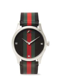 Reloj de cuero de rayas horizontales negro de Gucci