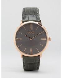 Reloj de cuero en gris oscuro de Hugo Boss