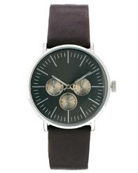 Reloj de cuero en marrón oscuro de Asos