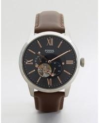 Reloj de cuero en marrón oscuro de Fossil