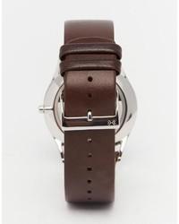 Reloj de cuero en marrón oscuro de Skagen