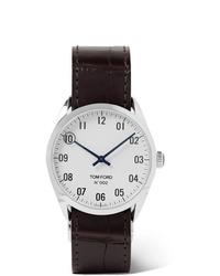 Reloj de cuero en marrón oscuro de Tom Ford Timepieces