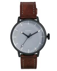 Reloj de cuero en marrón oscuro de Tsovet