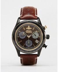 Reloj de cuero en marrón oscuro de Vivienne Westwood