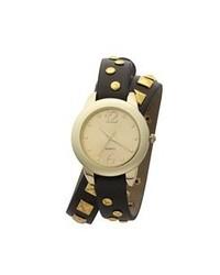 Reloj de cuero en negro y dorado