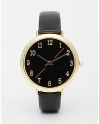 Reloj de cuero en negro y dorado de Asos