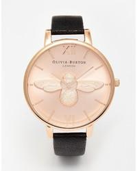 Reloj de cuero en negro y dorado de Burton