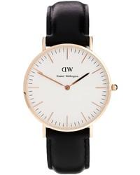 Reloj de cuero en negro y dorado de Daniel Wellington