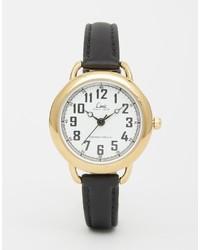 Reloj de cuero en negro y dorado de Limit