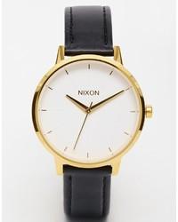 Reloj de cuero en negro y dorado de Nixon