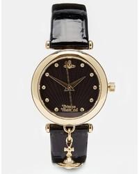 Reloj de cuero en negro y dorado de Vivienne Westwood