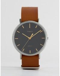 Reloj de cuero en tabaco de Timex