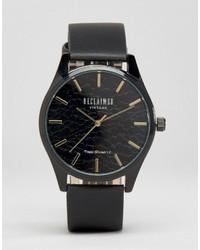Reloj de cuero estampado negro de Reclaimed Vintage
