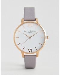 Reloj de Cuero Gris de Olivia Burton