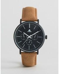 Reloj de cuero marrón claro de Asos