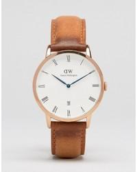 Reloj de cuero marrón claro de Daniel Wellington
