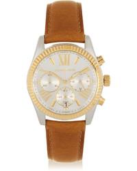 Reloj de cuero marrón claro de Michael Kors