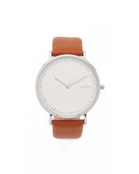 Reloj de cuero marrón claro de RumbaTime