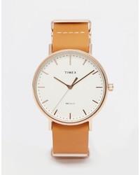 Reloj de cuero marrón claro de Timex