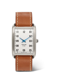 Reloj de cuero marrón claro de Tom Ford Timepieces