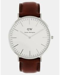 Reloj de cuero marrón de Daniel Wellington