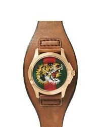 Reloj de cuero marrón de Gucci